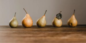 pears on wood